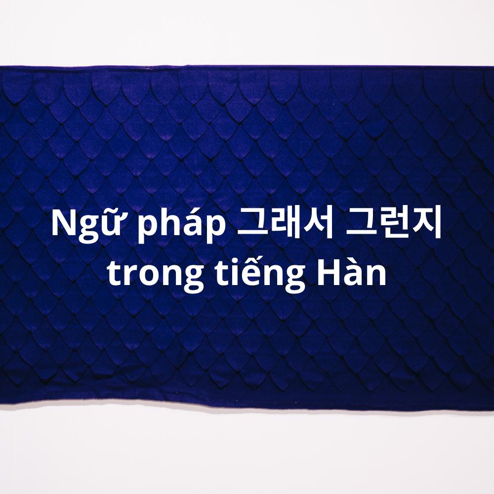 Ngữ pháp 그래서 그런지 trong tiếng Hàn