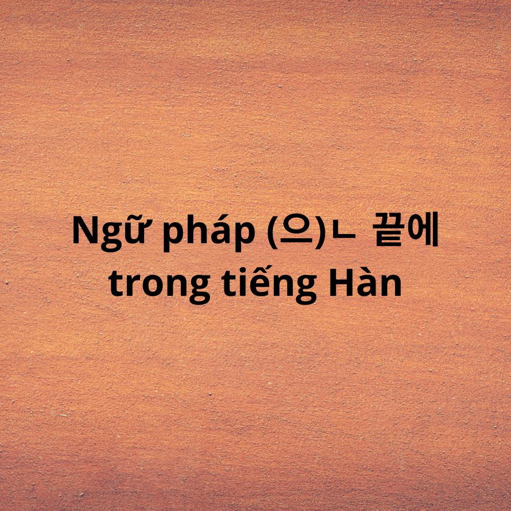 Ngữ pháp (으)ㄴ 끝에 trong tiếng Hàn